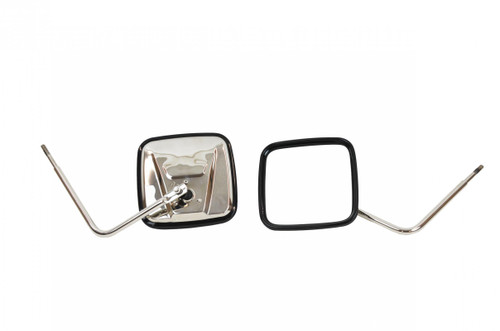 Kentrol JEEP CJ/YJ/TJ/JK Outback Mirrors Pair 76-18 CJ and Wrangler YJ/TJ/JK Polished Silver 30443