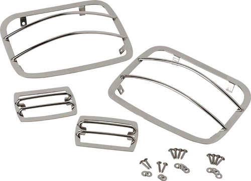 Kentrol Jeep YJ Light Guard Set 4 Pieces 87-95 Wrangler TJ Polished Silver 30558
