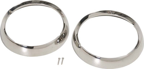 Kentrol Jeep CJ Headlight Bezels Pair 72-86 CJ Polished Silver 30537
