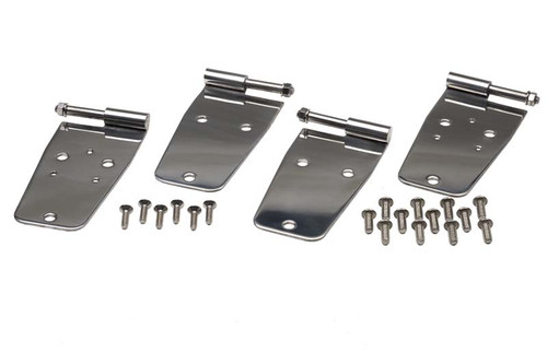 Kentrol Jeep CJ/YJ Door Hinge Set 4 Pieces 76-93 CJ and Wrangler YJ Polished Silver 30420