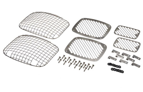 Kentrol Jeep YJ Billet and Wire Mesh Set 6 Pieces 87-95 Wrangler TJ Polished Silver 30467