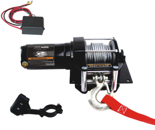Bulldog Winch 2,000 LB ATV Winch 40 Ft Synthetic Rope W/Mini Rocker Switch Mounting Channel Roller Fairlead 15002