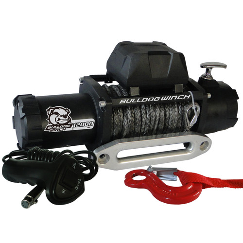Bulldog Winch 12,00 LB Winch 100 Ft Synthetic Rope 6.0hp Series Wound Motor Roller Fairlead 10046