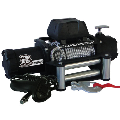 Bulldog Winch 12,00 LB Winch 100 Ft Wire Rope 6.0hp Series Wound Motor Roller Fairlead 10043
