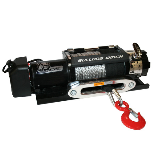 Bulldog Winch 12,000 LB Trailer Winch 100 Ft Synthetic Rope Hawse Roller Fairlead 10040