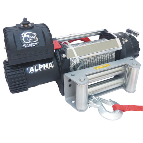 Bulldog Winch 12,500 LB Winch 90 Ft Wire Rope Roller Fairlead Alpha Series 10027