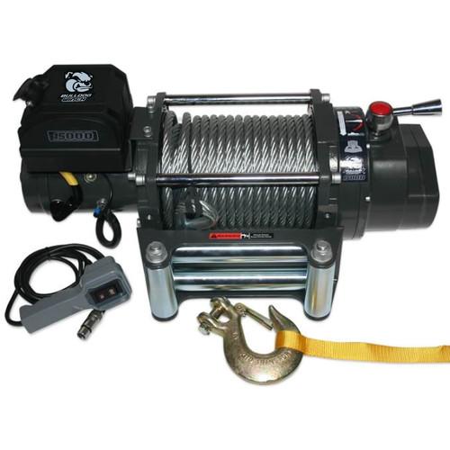 Bulldog Winch 15,000 LB Winch Heavy Duty W/92 FT Wire Rope 10012