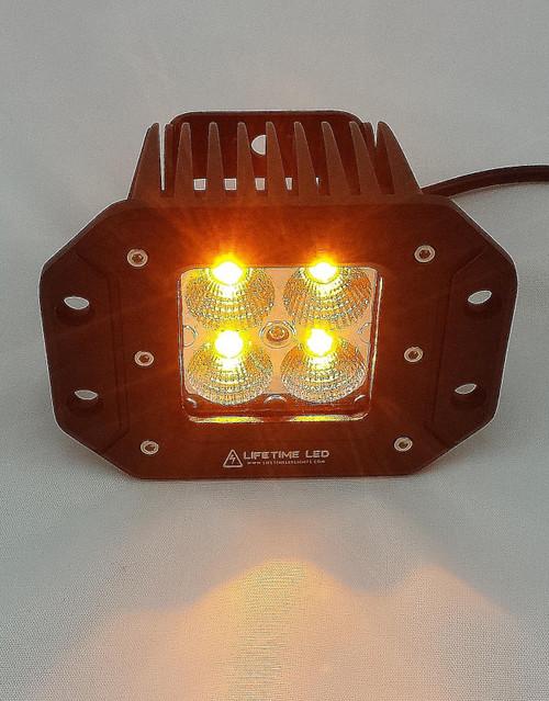Lifetime LED Lights 3 Inch Flush Mount Off Road Lights 20 Watt Amber White Lifetime LLL20-AW-FLUSH