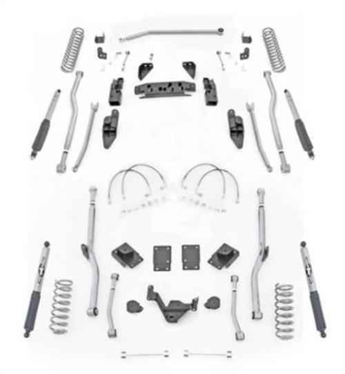 Rubicon Express 3.5 Inch JK Lift Kit Extreme Duty Long Arm System 4 Link Front Radius Rear W/Shocks 07-18 Jeep Wrangler JKU 4 Dr JK4R43M