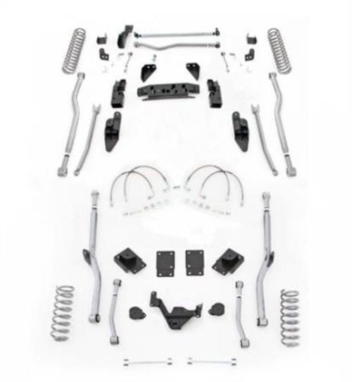 Rubicon Express 4.5 Inch JK Lift Kit Extreme Duty Long Arm System 4 Link Front 4 Link Rear No Shocks 07-18 Jeep Wrangler JK 2Dr JK4R24