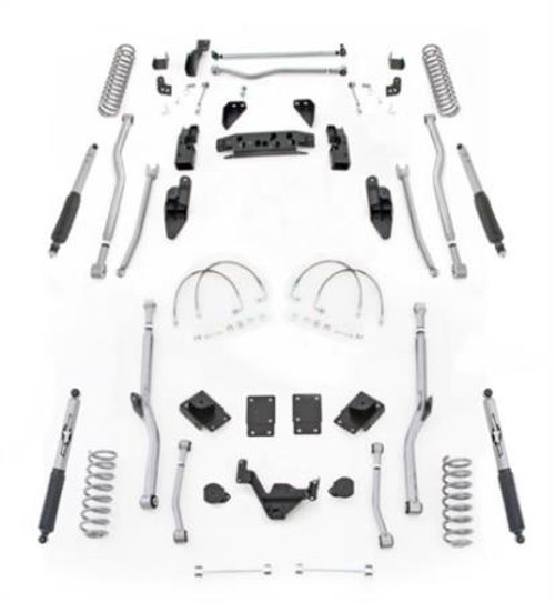 Rubicon Express 4.5 Inch JK Lift Kit Extreme Duty Long Arm System 4 Link Front 4 Link Rear W/Shocks 07-18 Jeep Wrangler JK 2Dr JK4R24M
