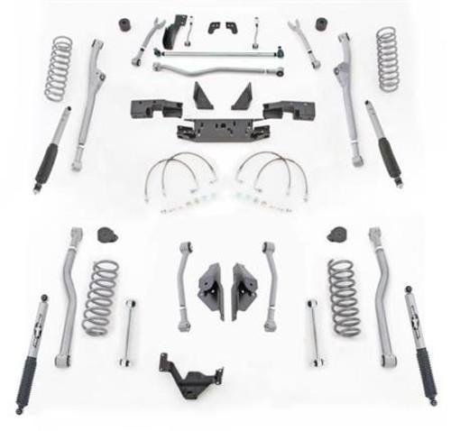 Rubicon Express 4.5 Inch JK Lift Kit Extreme Duty Long Arm System Radius Front 4 Link Rear W/Shocks 07-18 Jeep Wrangler JK 2Dr JKR424M