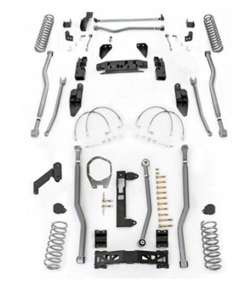 Rubicon Express 4.5 Inch JK Lift Kit Extreme Duty Long Arm System 4 Link Front 3 Link Rear No Shocks 07-18 Jeep Wrangler JKU 4Dr JK4344