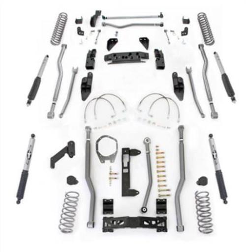 Rubicon Express 4.5 Inch JK Lift Kit Extreme Duty Long Arm System 4 Link Front 3 Link Rear W/Shocks 07-18 Jeep Wrangler JKU 4Dr JK4344M