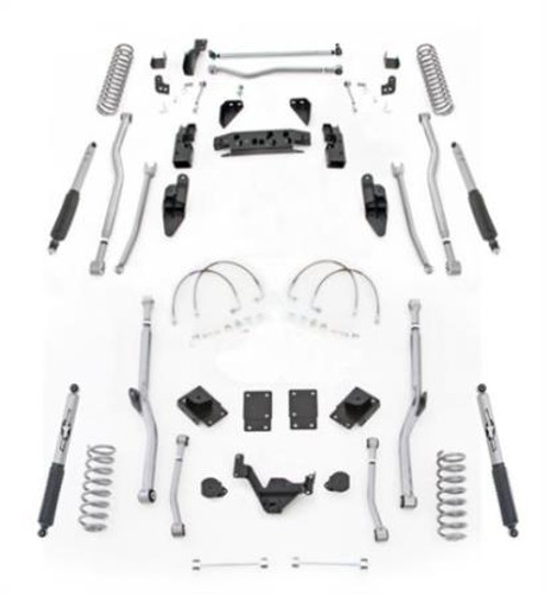 Rubicon Express 4.5 Inch JK Lift Kit Extreme Duty Long Arm System 4 Link Front Radius Rear W/Shocks 07-18 Jeep Wrangler JKU 4Dr JK4R44M