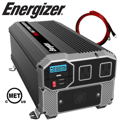 Energizer 3000 Watt 12V Power Inverter, Dual 110V AC Outlets ENK3000