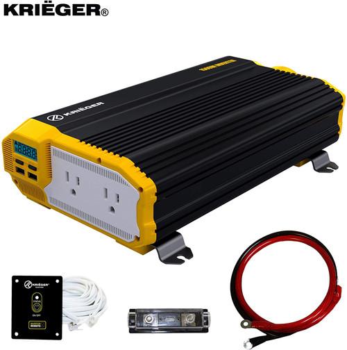 Kreiger Krieger 1500 Watt 12V Power Inverter, Dual 110V AC Outlets KR1500