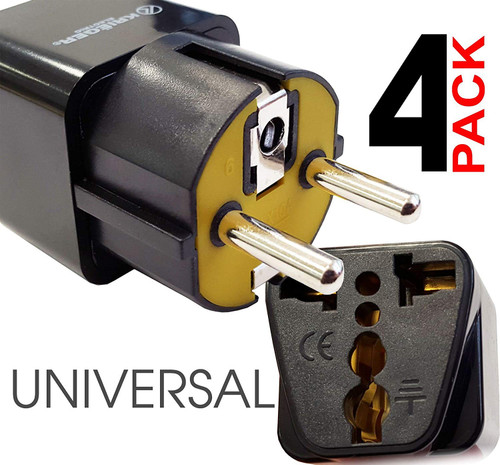 Kreiger Grounded Universal Plug Adapter for Europe, Germany, France (Schuko) Type E/F - 4 Pack KR-GRM4
