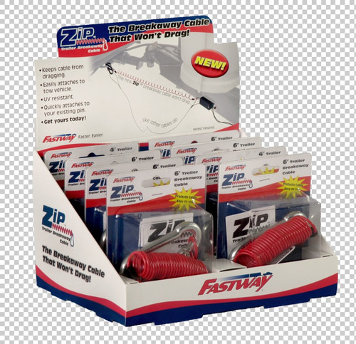 Fastway Trailer Folding full color retail display box showing eight 4' Zip universal cables. 80-01-9214
