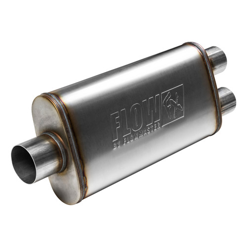 """Flowmaster Flowmaster 72288 FlowFX Muffler Stainless Steel - 3"""" Center In/2.5"""" Dual Out - Moderate Sound 72288"""