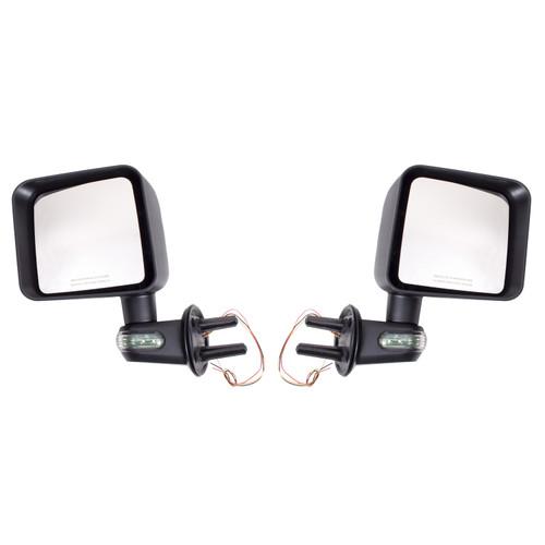 Rugged Ridge Door Mirror Kit with Turn Signals, Black; 07-16 Jeep Wrangler JK 11002.22
