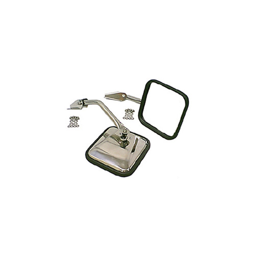 Rugged Ridge Side Mirror Kit, Stainless Steel; 55-86 Jeep CJ Models 11005.01