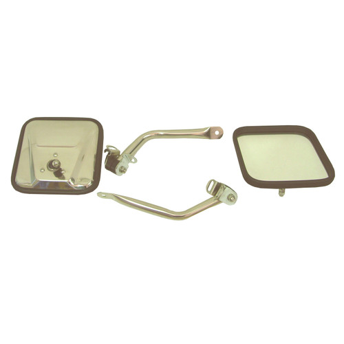 Rugged Ridge CJ-Style Side Mirror Kit, Stainless Steel; 97-06 Jeep Wrangler TJ 11005.07