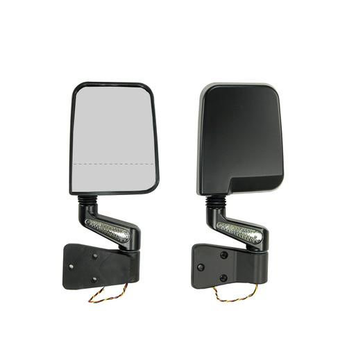 Rugged Ridge Door Mirror Kit, LED Signal, Dual Focus, Black; 87-02 Jeep Wrangler 11015.02