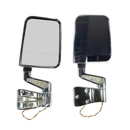Rugged Ridge Door Mirror Kit, LED Signal, Dual Focus, Chrome; 87-02 Jeep Wrangler 11016.02