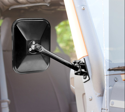 Rugged Ridge Quick Release Mirrors, Pair, Black, Rectangular; 97-16 Jeep Wrangler 11025.12