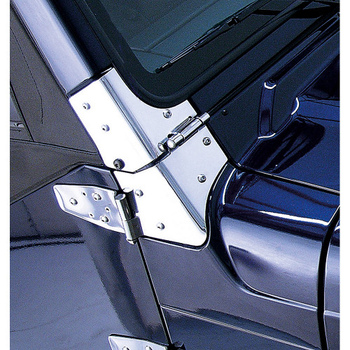 Rugged Ridge Windshield Hinges, Stainless Steel; 97-06 Jeep Wrangler TJ 11112.02