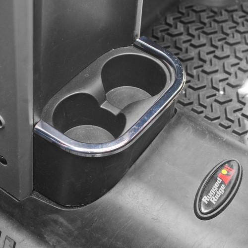 Rugged Ridge Rear Cup Holder Accent, Chrome; 07-10 Jeep Wrangler JK 11156.18