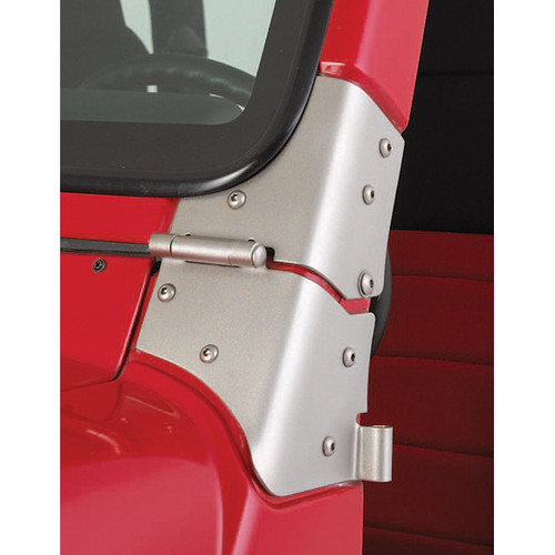 Rugged Ridge Windshield Hinge Kit, Satin Stainless Steel; 97-06 Jeep Wrangler TJ 11185.93
