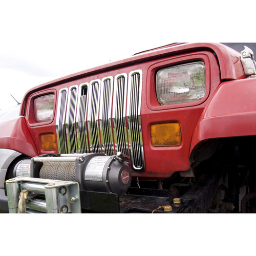 Rugged Ridge Billet Grille Inserts, Chrome; 87-95 Jeep Wrangler YJ 11401.01