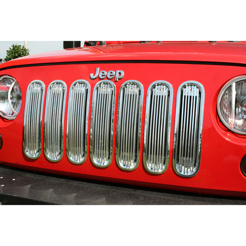 Rugged Ridge Billet Grille Insert, Polished Aluminum; 07-16 Jeep Wrangler JK 11401.20