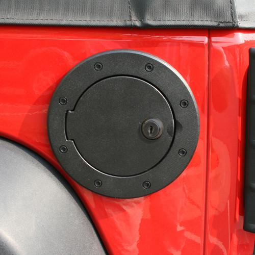 Rugged Ridge Locking Gas Cap Door, Black Aluminum; 07-16 Jeep Wrangler JK 11425.06