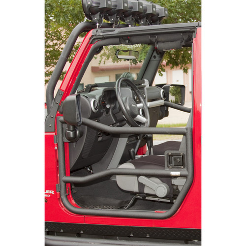 Rugged Ridge Front Tube Doors, Textured Black; 07-16 Jeep Wrangler JK 11509.10