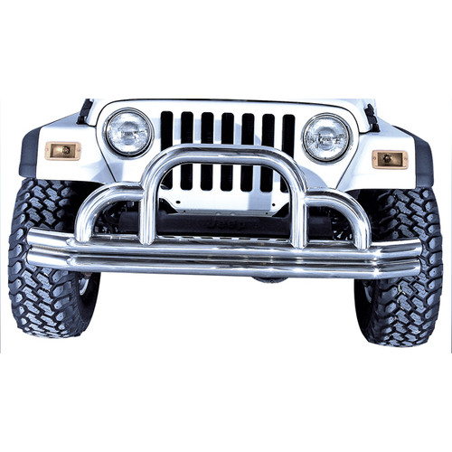 Rugged Ridge Defender Front Bumper, Stainless Steel; 55-06 Jeep CJ/Wrangler YJ/TJ 11521.01