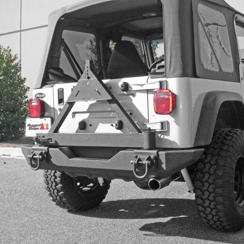 Rugged Ridge Tire Carrier, XHD Rear Bumper; 76-06 Jeep CJ/Wrangler YJ/TJ 11546.42