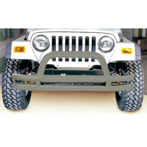 Rugged Ridge Double Tube Frnt Bmpr, 3 Inch, Titanium; 76-06 Jeep CJ/Wrangler YJ/TJ 11562.01