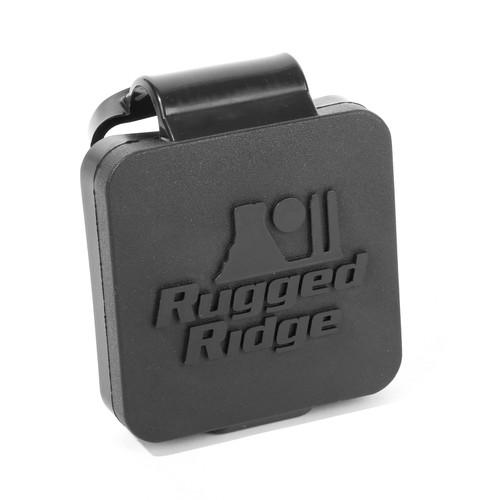 Rugged Ridge 2 Inch Receiver Hitch Plug, Black, Rugged Ridge Logo 11580.26