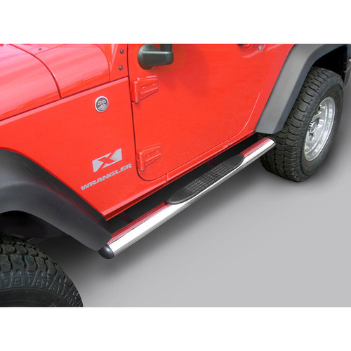 Rugged Ridge 4 1/4 Inch Oval Side Steps, Stainless Steel; 07-16 Jeep Wrangler JK 11593.07