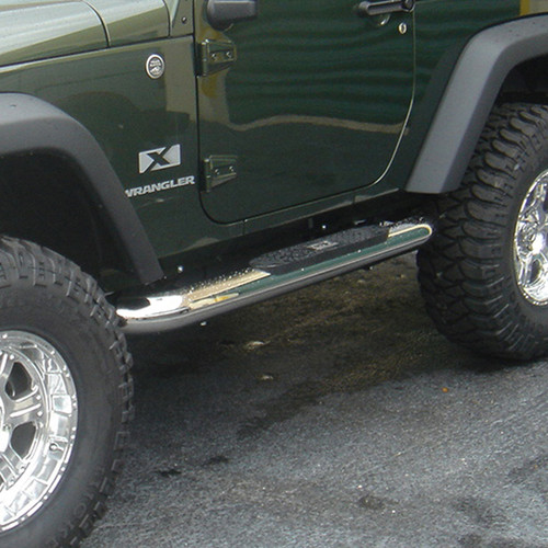 Rugged Ridge 4 Inch Round Side Steps, Stainless Steel; 07-16 Jeep Wrangler JK 11593.09