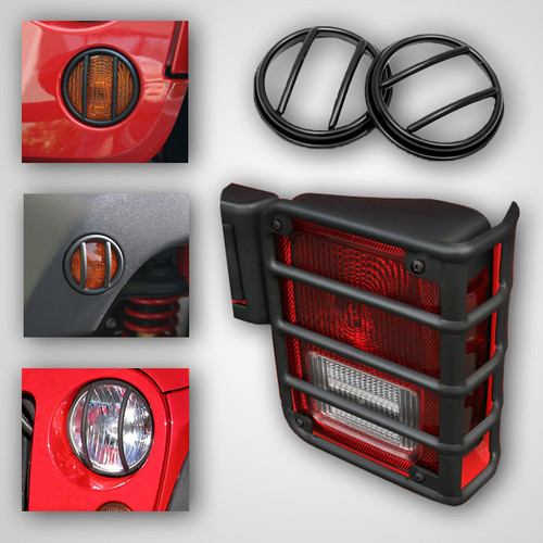 Rugged Ridge 10 Piece Euro Guard Light Kit, Black; 07-16 Jeep Wrangler JK 12496.02