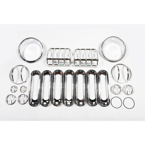 Rugged Ridge 19 Piece Euro Guard Light Kit, Stainless Steel; 07-16 Jeep Wrangler JK 12496.10