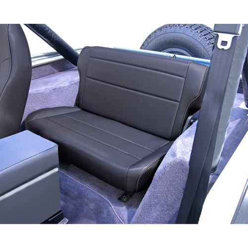 Rugged Ridge Fold and Tumble Rear Seat, Black Denim; 76-95 Jeep CJ/Wrangler YJ 13462.15