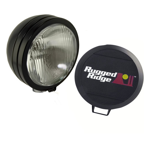 Rugged Ridge 5 Inch Round HID Off Road Fog Light Kit, Black Steel Housing 15205.02