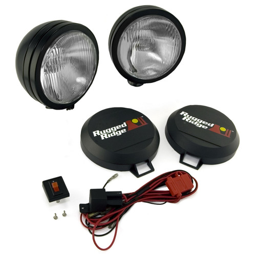Rugged Ridge 5 Inch Round HID Off Road Fog Light Kit, Black Steel Housing, Pair 15205.52