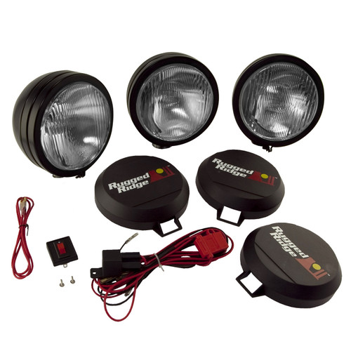 Rugged Ridge 5 Inch Round HID Off Road Fog Light Kit, Black Steel Housing, Set of 3 15205.62