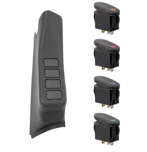 Rugged Ridge A-Pillar 4 Switch Pod Kit, Black, RHD; 07-10 Jeep Wrangler JK 17235.87
